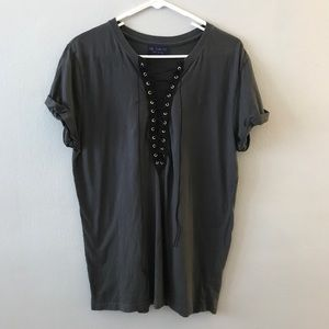 Gray and black lace up tee